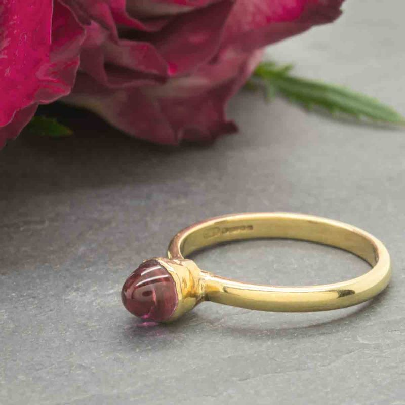 Pink Rubellite Tourmaline Bullet Ring in 18K gold by Catherine Marche - product images  of
