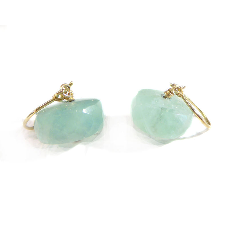 Aqua green Fluorite Dangle Earrings in 18K 18ct yellow gold by Catherine Marche - product images