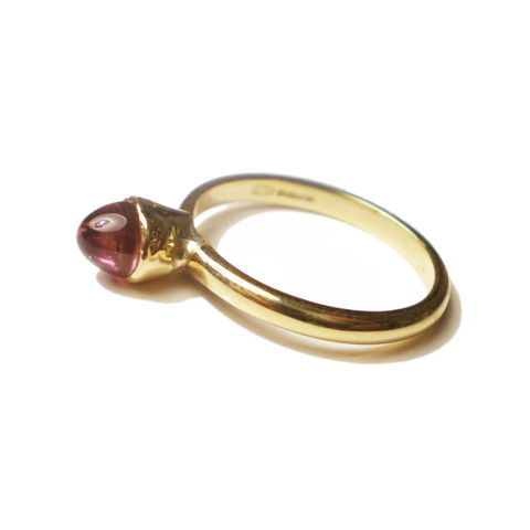 Pink,Rubellite,Tourmaline,Bullet,Ring,in,18K,gold,by,Catherine,Marche,bullet ring, yellow gold and pink tourmaline ring, 18K gold ring pink gemstone, bespoke jeweller, jewellery handmade in london, gift for her