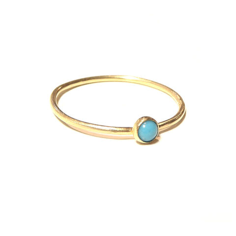 Minimalist,18K,yellow,gold,ring,with,Turquoise,by,Catherine,Marche,turquoise gold ring, mini gold ring, gold stacking ring, blue gemstone, catherine marche, solid gold handmade jewellery