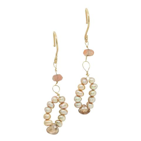 Natural,Zircon,and,Pearls,18ct,Gold,Earrings,by,Catherine,Marche,solid gold drop earrings, natural zircon gemstones, teardrop earrings, gold freshwater pearls, bronze pearls, long earrings, wedding jewellery, catherine marche, jedeco, luxury gift for her