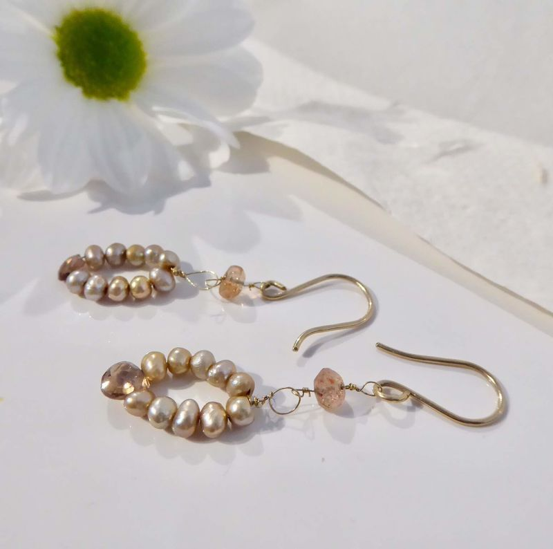 Natural Zircon and Pearls 18ct Gold Earrings by Catherine Marche - product images  of