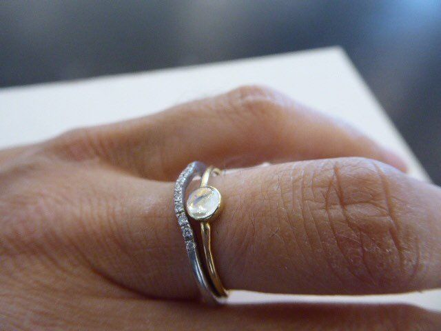 Minimalist 18K yellow gold ring with Moonstone by Catherine Marche - product images  of