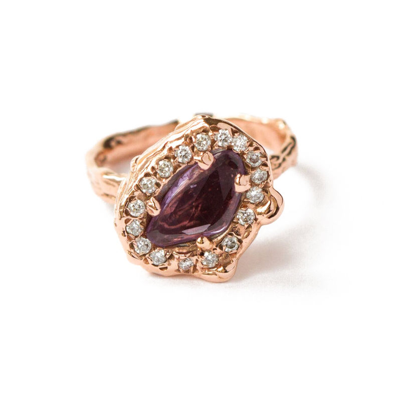 9ct rose gold set with white diamonds and sapphire by LaParra Jewels - product images