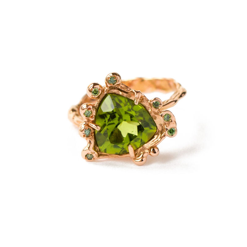 18ct rose gold ring with green diamonds and tsavorite by LaParra Jewels - product images
