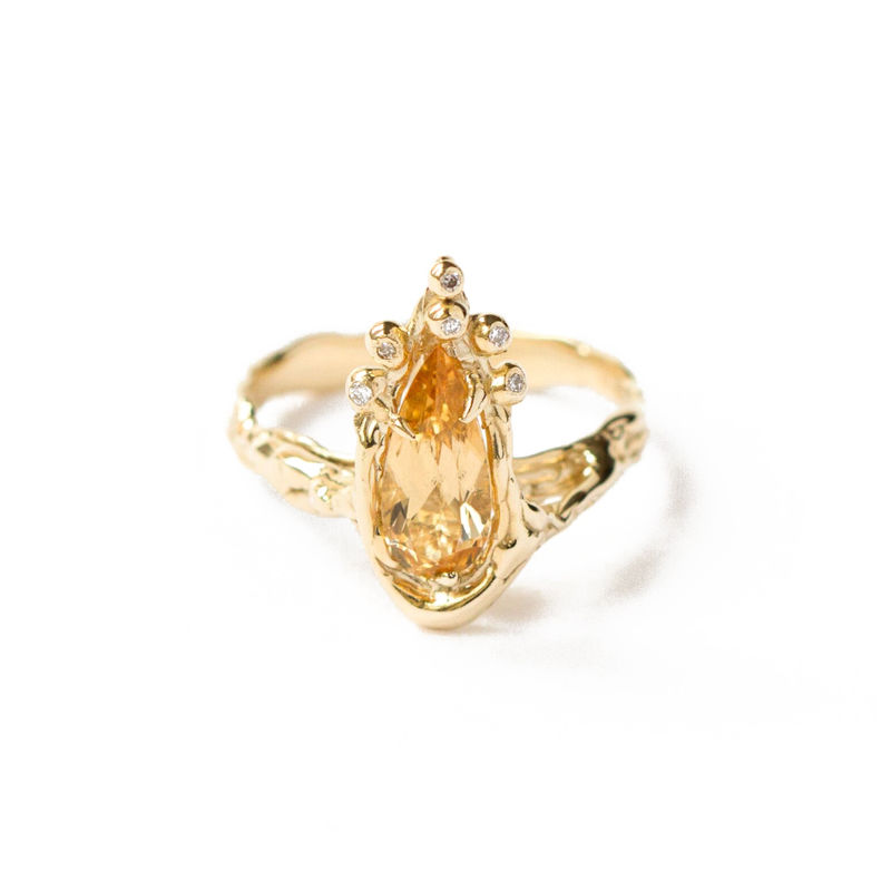 9ct yellow gold ring with diamonds and citrine by LaParra Jewels - product images