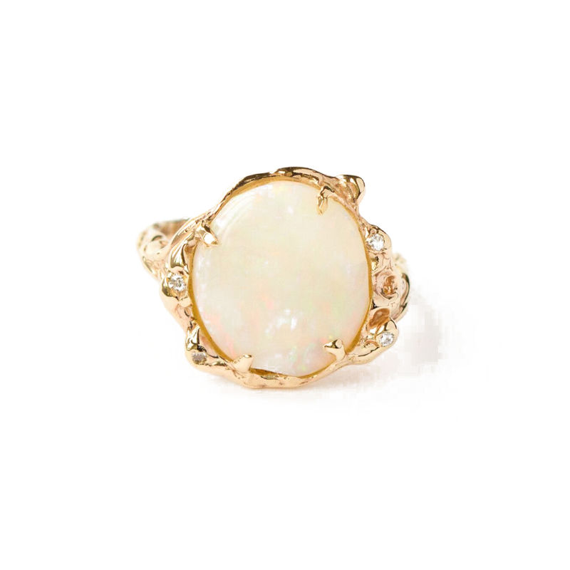 9ct yellow gold ring with diamonds and opal by LaParra Jewels - product images