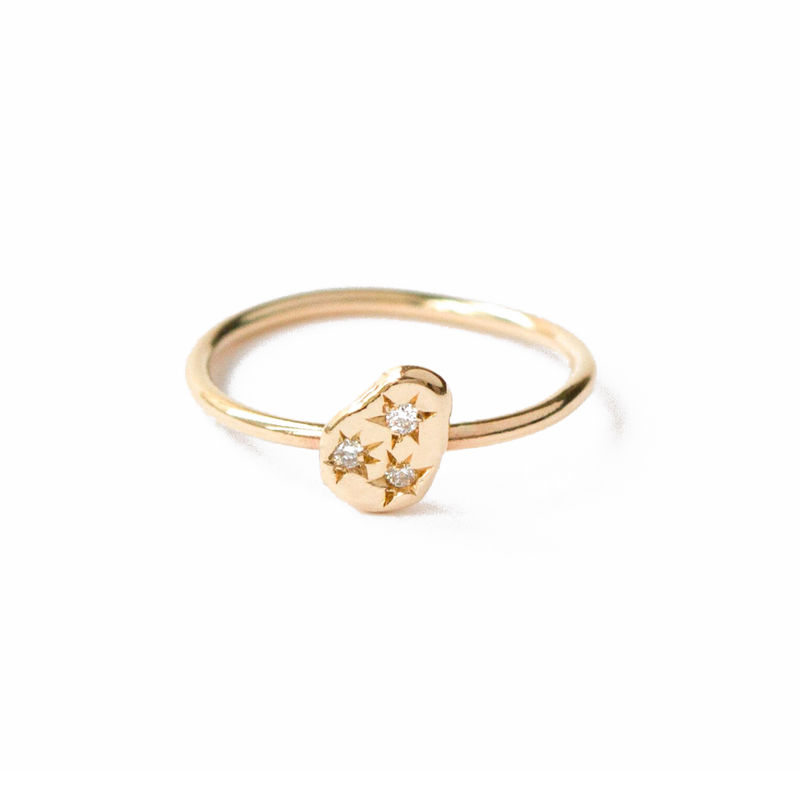 9ct yellow gold nugget ring 2 with diamonds by LaParra Jewels - product images  of