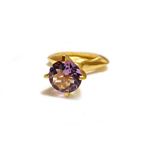 Amethyst,Ring,in,gold,vermeil,by,Catherine,Marche,gold vermeil ring, amethyst cocktail ring, Passionata ring, February birthstone, gift for her an dhim, unisex jewelry, eccentric jewelry, catherine marche designer jewelry, french jewelry design, statement ring
