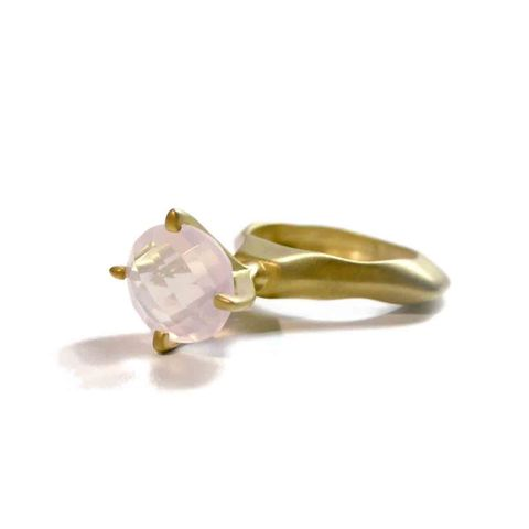 Rose,Quartz,Passionata,Ring,by,Catherine,Marche,pink gemstone ring, cocktail ring, gold vermeil statement ring, catherine marche jewellery, jewellery in london