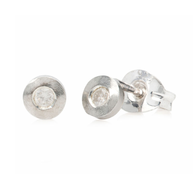 Tiny silver studs with diamonds by Danny Ries - product images