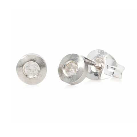 Tiny,silver,studs,with,diamonds,by,Danny,Ries,silver and diamond studs