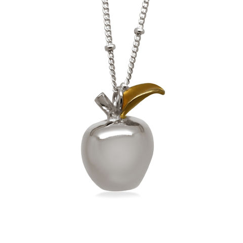 Large,polished,apple,necklace,by,KristinM,silver apple necklace