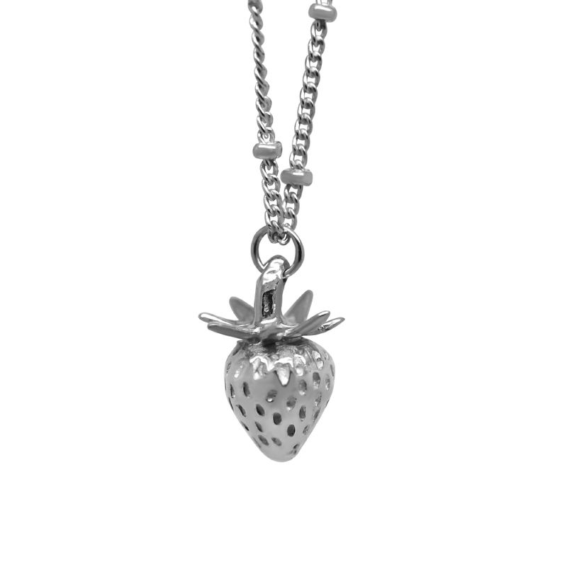 Strawberry necklace silver small by KristinM - product images  of