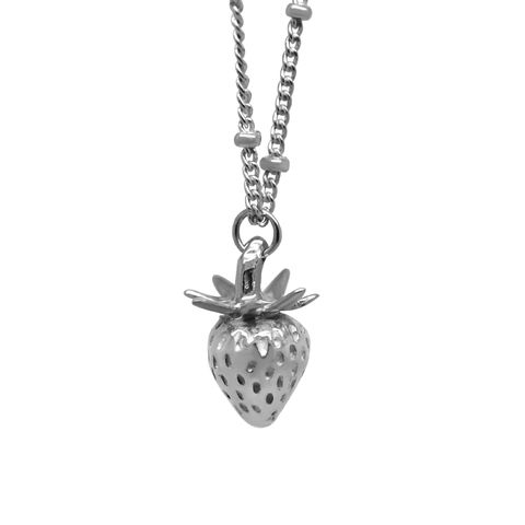 Strawberry,necklace,silver,small,by,KristinM,strawberry necklace