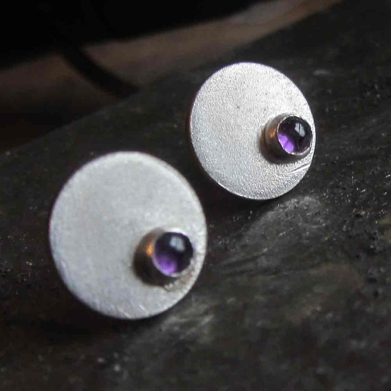 Round Silver Ear Studs with purple amethyst gemstones by Catherine Marche Jewellery - product images  of