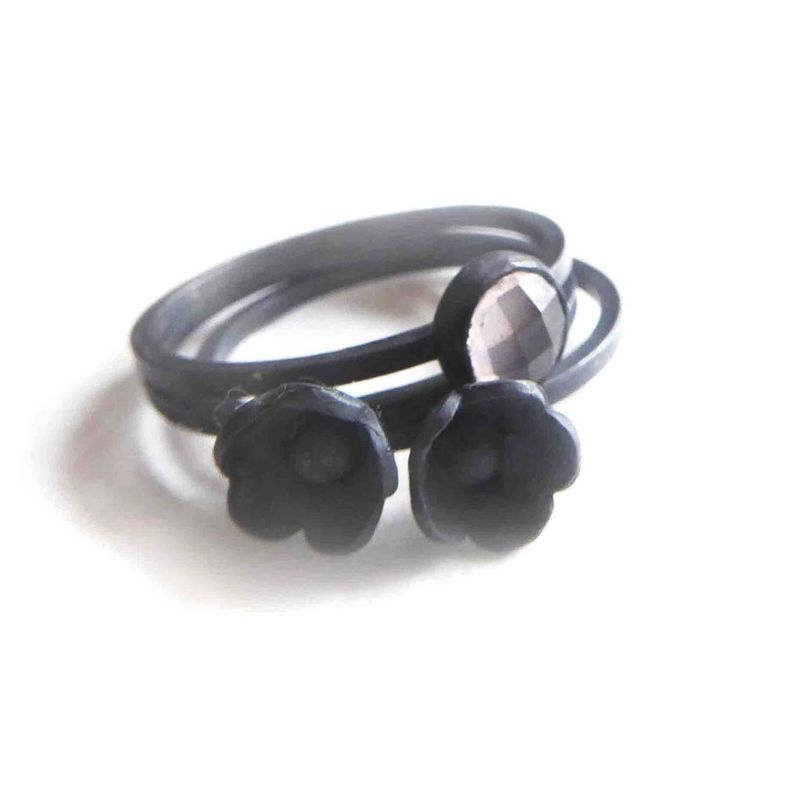 Black Flower Sterling Silver Ring by Catherine Marche - product images  of