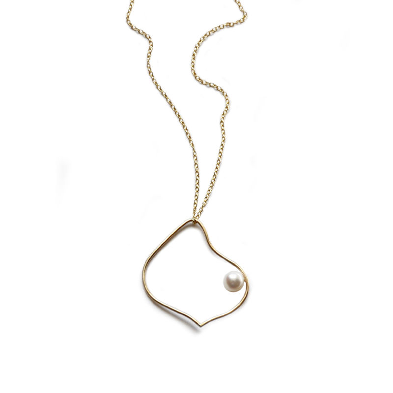 Silhouette solid gold arabesque necklace with white pearl by Katerina Damilos - product images  of