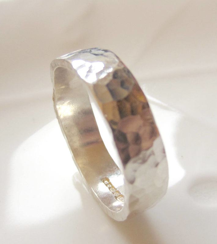 Hammered textured wedding band by Catherine Marche - product images  of