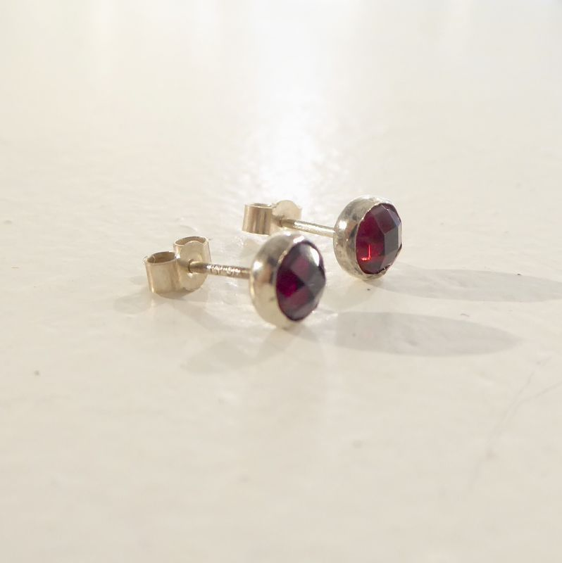 Rose cut Garnet Stud earrings in sterling silver by Catherine Marche - product images  of