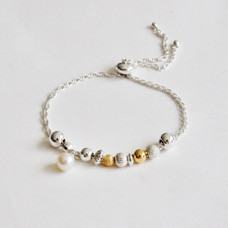 ORB adjustable bracelet - silver, gold & pearl by Katerina Damilos - product images  of