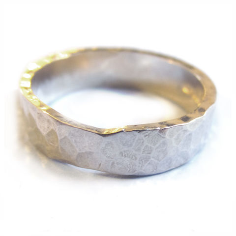 Hammered,textured,wedding,band,by,Catherine,Marche,rustic wedding, hammered rings, wedding ring for men, catherine marche jewellery, unisex wedding band, made to order bespoke jewellery, london jeweller, rustic wedding, recycled silver, sustainable jewellery