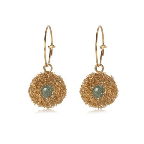 POD,earrings,gold,with,topaz,by,Danny,Ries,Danny Ries, gold hand-knitted earrings, gold and topaz hand knitted earrings