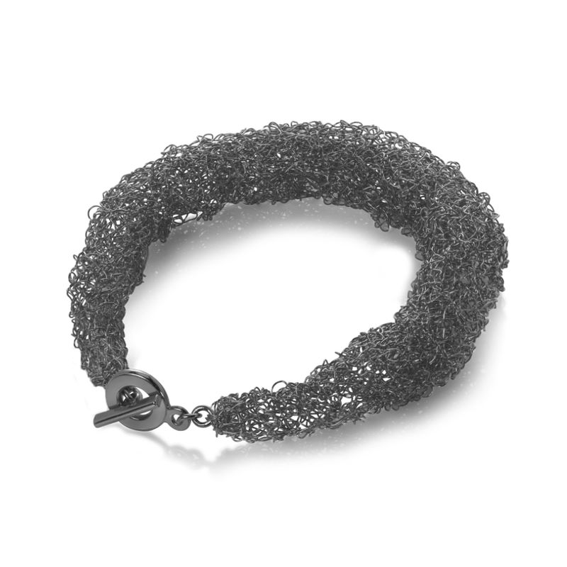 Handknit rope bracelet black by Danny Ries - product images