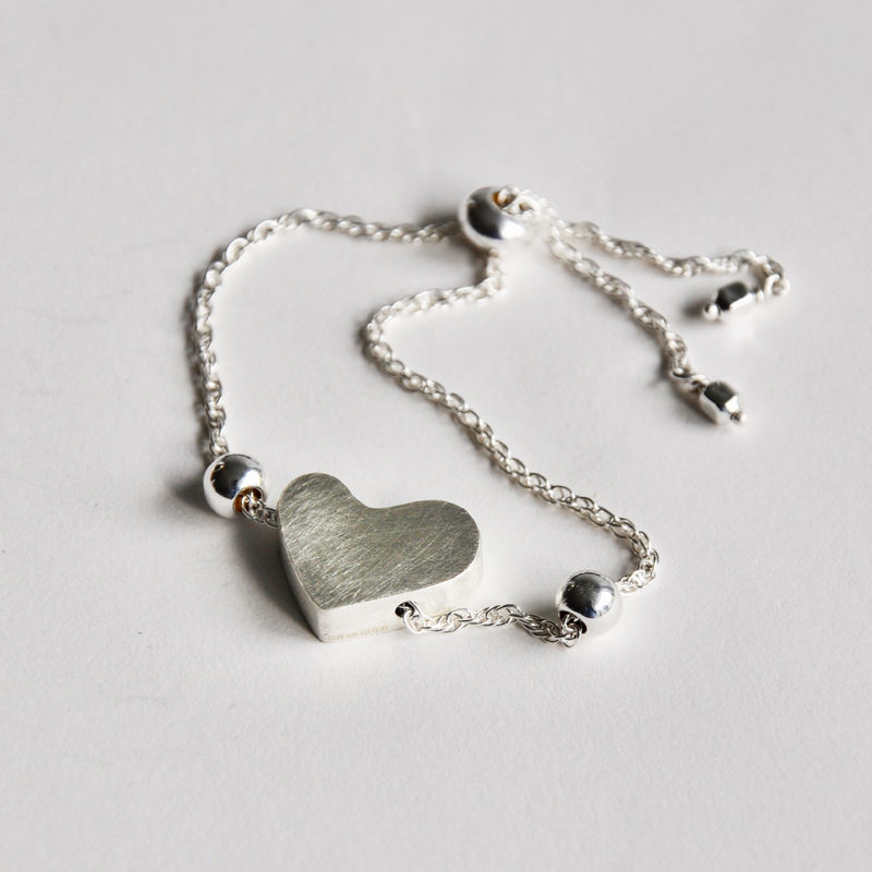 Adjustable silver heart bracelet by Katerina Damilos - product images  of