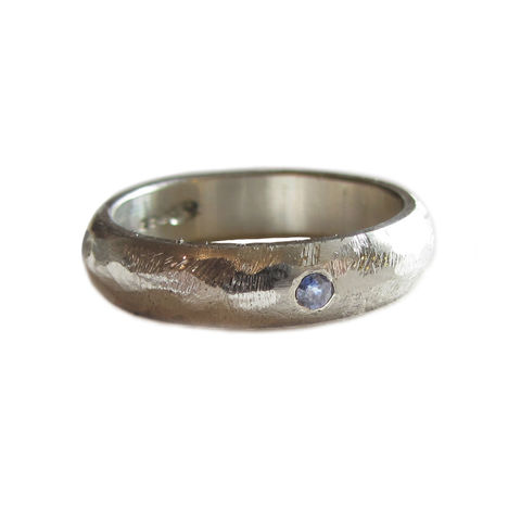 Rustic,Silver,Ring,with,a,blue,Sapphire,by,Catherine,Marche,bespoke wedding rings, rustic silver ring, rings for men, silver wedding band, catherine marche, anniversary band, ethical jewellery, handmade jewellery