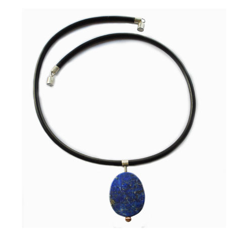 Lapis,pendant,by,Rosemary,Lucas,Lapis disc pendant, geometric necklace, dark blue, lapis and rubber pendant, torc pendant