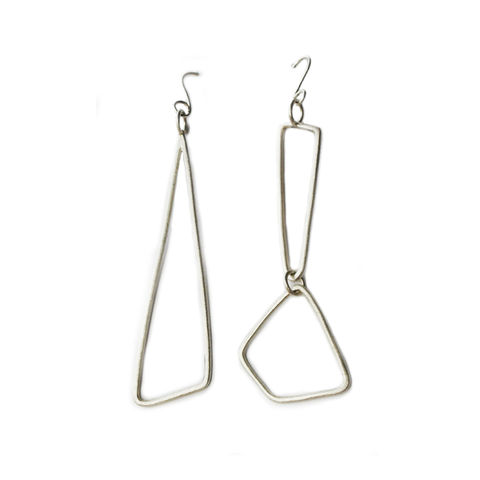 Forest,silver,drop,earrings,on,hooks,by,Rosemary,Lucas,geometric silver earrings, asymmetric silver dangly earrings