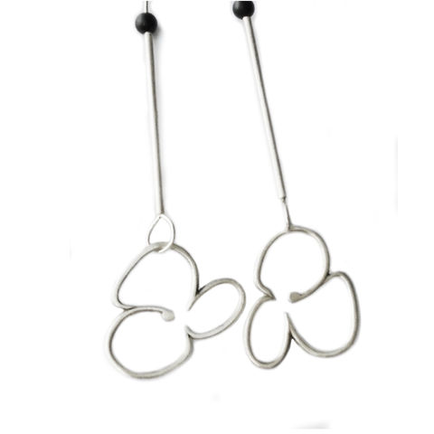 Abstract,Flower,drops,by,Rosemary,Lucas,geometric silver earrings, asymmetric silver dangly earrings