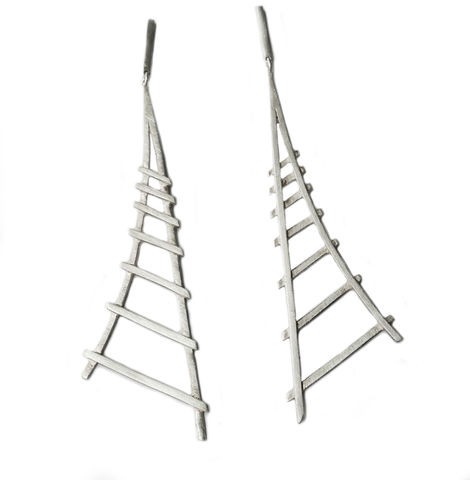 Tracks,earrings,by,Rosemary,Lucas,geometric silver earrings, linear, triangular