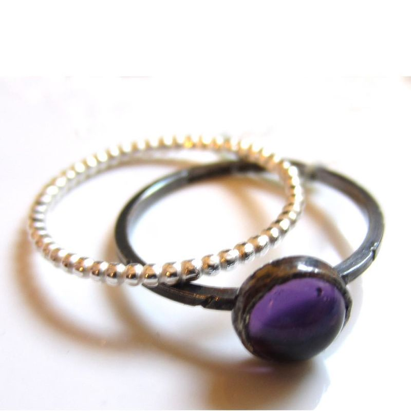 Oxidised Silver Amethyst Ring Set by Catherine Marche - product images  of