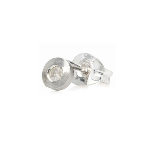 Tiny,gold,stud,with,diamond,by,Danny,Ries,white gold and diamond studs