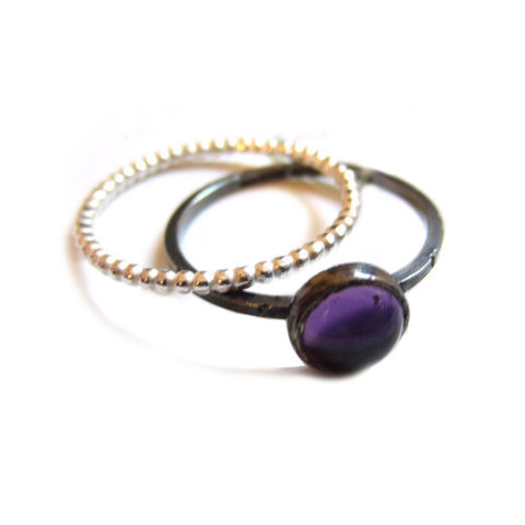 Oxidised,Silver,Amethyst,Ring,Set,by,Catherine,Marche,minimalist jewellery, amethyst stacking ring, beaded silverring, oxidised sterling silver ring, amethyst ring, stackable ring, catherine marche, ethical jewellery, recycled silver, round cabochon, purple gemstones jewellery, amethyst stack of rings