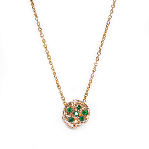 Gold,necklace,set,with,emeralds,by,LaParra,Jewels,organic gold pendant with emeralds