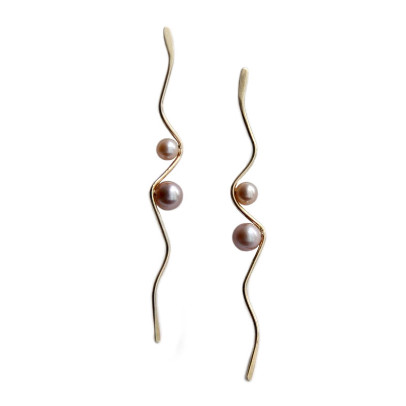 Silhouette solid gold wave earrings with blush pearls by Katerina Damilos - product images  of