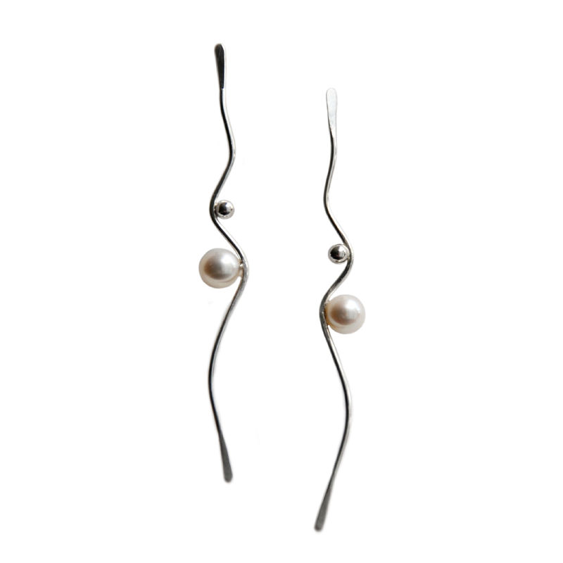 Silhouette silver wave earrings with white pearls by Katerina Damilos - product images  of