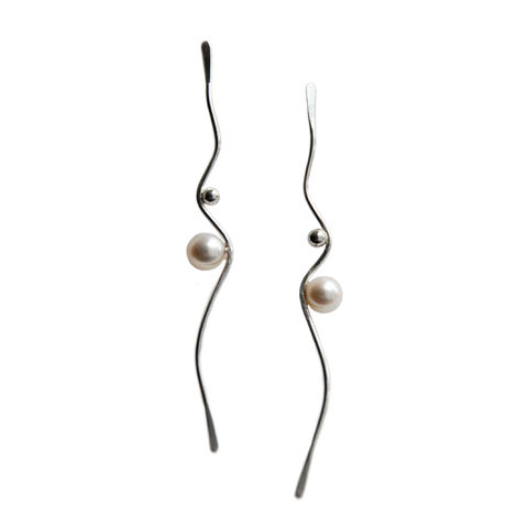 Silhouette,silver,wave,earrings,with,white,pearls,by,Katerina,Damilos,Katerina Damilos, jedeco, wave dangly earrings, silver and pearl wave earrings, contemporary pearl, statement earrings