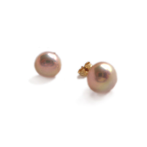 18ct,Pink,Pearls,Earrings,by,Catherine,Marche,pink pearls, powder pink jewellery, pearls earrings, classic pearls, catherine marche jewellery, fine jewellery, gold and pearls, 18ct gold studs, recycled gold