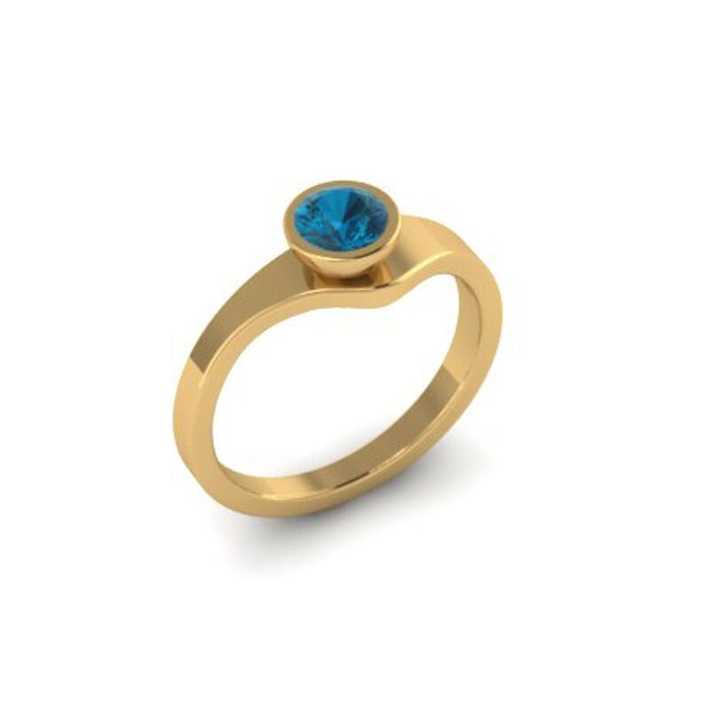 Tutti Frutti ring yellow gold with blue topaz by Danny Ries - product images  of