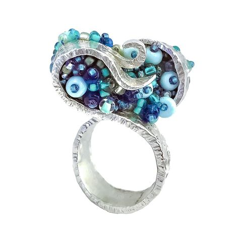 Sea,Foam,ring,by,Dani,Crompton,organic silver ring with beads, sea foam ring