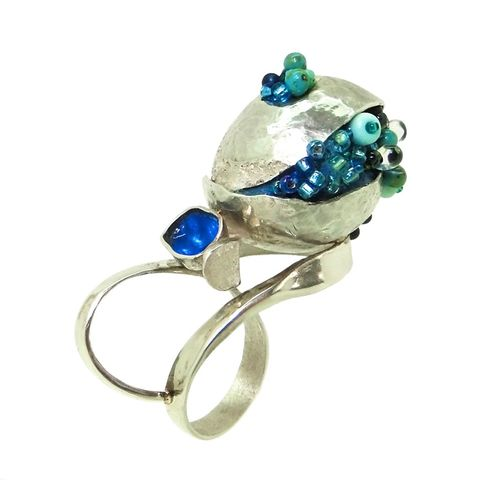 Reflective,Pond,ring,by,Dani,Crompton,organic silver ring with beads