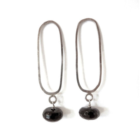 Oblong,Onyx,Earrings,by,Catherine,Marche,black onyx earrings, long silver earrings, catherine marche, handmade earrings, limited edition designs, gift for her, jewellery for zoom calls, black and white design, natural gemstones