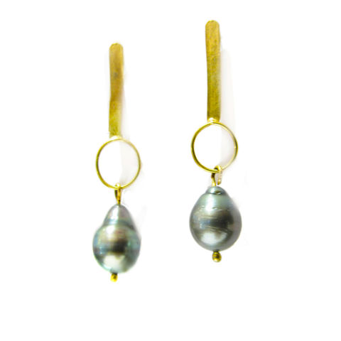 18ct,Gold,Tahitian,Pearls,Earrings,by,Catherine,Marche,saltwater pearls jewellery, tahitian pearls earrings, artisan jewellery, long gold earrings, recycled gold, 18ct gold earrings, grey pearls, baroque pearls earrings