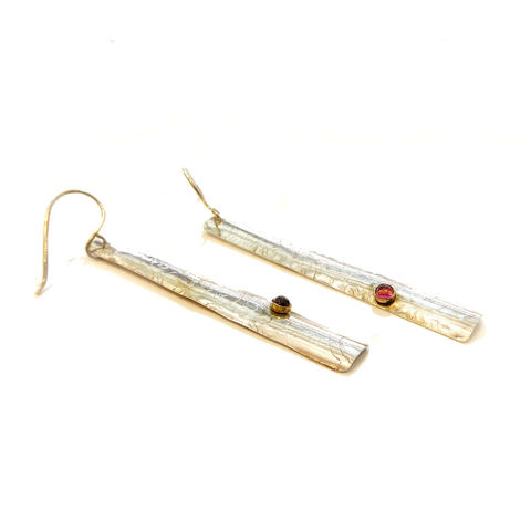 Silver,and,gold,Tourmaline,Earrings,by,Catherine,Marche,long earrings, pink tourmaline, red tourmaline, rubellite earrings, catherine marche ethical jewellery