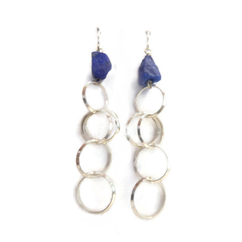 Lapis,Lazuli,Earrings,by,Catherine,Marche,long silver earrings, lapis lazuli jewellery, rough gemstones earrings, blue gemstones, catherine marche, designer jewellery, ethical jewelry