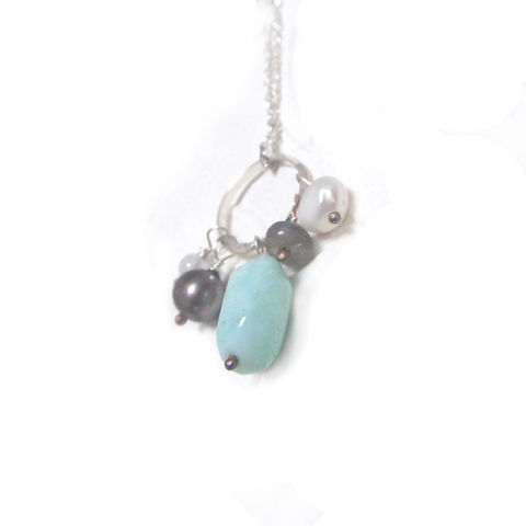 Blue,Opal,Cluster,Talisman,Necklace,by,Catherine,Marche,sterling silver necklace, andean blue opal pendant, catherine marche jewellery, blue gemstones, cluster necklace, good luck jewellery, feel good gifts, gifts for her, talisman jewellery, vegan jewelry, Zeus tears